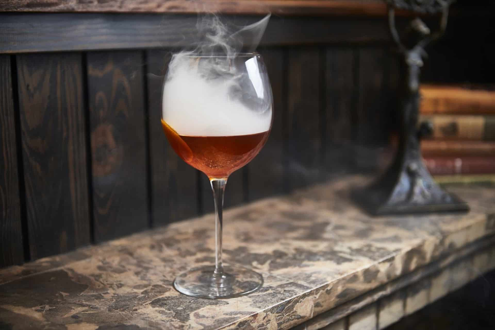 A Smoking Old Fashioned Cocktail